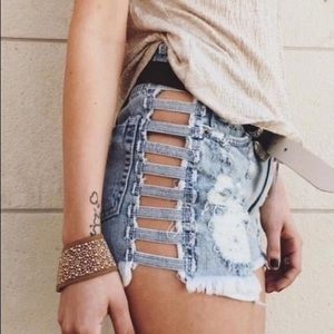 Carmar Denim Ladder Open Side High-Waisted Shorts